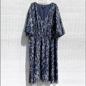 Eloquii Blue Metallic Feather Dress EUC